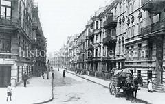Historische Bilder aus dem Hamburger Stadtteil Borgfelde; mehrstöckige Wohnbebauung in der Elise-Averdiek-Straße - Pferdefuhrwerk.