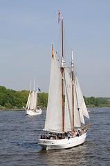 Segelschiffe auf der Elbe während des Hamburger Hafengeburtags.
