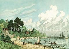 Historische Ansicht bei Neumühlen, Oevelgönne / Altona - Elbstrand und Boote, im Hintergrund der Mastenwald des Hafens; Windmühle und Donnerschloss. (ca. 1875)