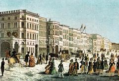 Alte Ansicht vom Hamburger Jungfernstieg in der Neustadt; lks. die Alsterarkaden. (ca. 1845)