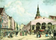 Hostorisches Motiv vom Hamburger Hopfenmarkt in der Altstadt (ca. 1840).