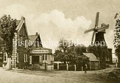 Historische Ansicht von der Gaststätte Finkenwärder Hof in Hamburg Finkenwerder; re. eine Windmühle.