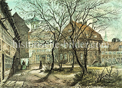 Altes Bild vom Hamburger Hiobshospital in der  Spitalerstraße.  (ca. 1885)