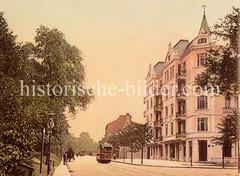 Historische Bilder aus dem Hamburger Stadtteil Borgfelde; Straßenbahnen und Pferdefuhrwerke in der Borgfelder Str. - re. der Grevenweg.
