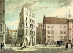 Historische Straßenszene in der Hamburger Altstadt, Börsenbrücke - lks. das Börsenbrückenfleet, daneben ein spitzwinkeliges Geschäftshaus/Kontorhaus. (ca. 1850)