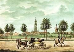 Blick vom Hamburger Berg in St. Pauli zur Elbhöhe mit Windmühle, dahinter die Sankt Michaeliskirche. (ca. 1830)