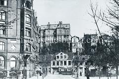 Historische Bilder aus dem Hamburger Stadtteil Borgfelde; Blick von der Kreuzung Anckelmannstraße / Ausschlägerweg Richtung Borgfelder Straße.