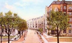 Historische Bilder aus dem Hamburger Stadtteil Borgfelde 53; Blick von der Borgfelder Straße in Beim Gesundbrunnen.