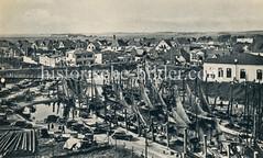 Büsum historischHistorische Ansicht vom Nordseebad Büsum, Fischereihafen.