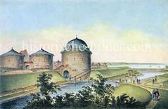 Historische Ansicht der Hamburger Stadtbefestigung um 1600; Wassergraben und Spitaler Tor.