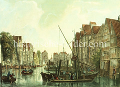 Boote auf dem Alsterfleet in der Hamburger Alstadt um 1840.