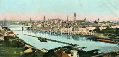 Historische Ansicht der Hansestadt Bremen, Blick auf die Weser.