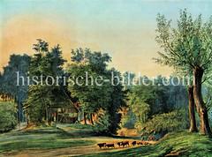 Historische Ansicht von der Schleuse an der Alster in Hamburg Fuhlsbüttel.