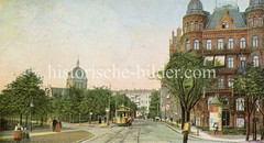 Historische Bilder aus dem Hamburger Stadtteil Borgfelde; Straßenbahn in der Wallstraße - im Hintergrund die Erlöserkirche.