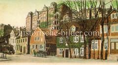 Historische Bilder aus dem Hamburger Stadtteil Borgfelde; alte Häuserzeile an der Borgfelder Straße - Etagenhäuser in Oben Borgfelde.