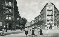 Historische Ansicht der Kreuzung Wohldorfer / Hansdorfer Straße im Hamburger Stadtteil Barmbek-Süd.