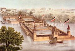Historische Bilder aus dem Hamburger Stadtteil Borgfelde; Badeanstalt und Gastwirtschaft auf der Bille am Hammer Deich. Die Anlage im Wasser konnte mit Booten angefahren werden.