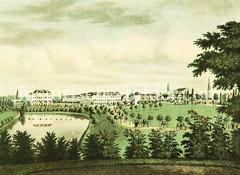 Blick über den Botanischen Garten Richtung Hamburger Innenstadt, Dammtor ca. 1830.