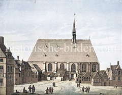 Alte Darstellung der Heilig-Geist-Kirche am Rödingsmarkt in der Hamburger Altstadt. (ca. 1800)