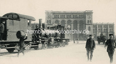 Altes Bild vom Venloer Bahnhof - nach 1892 Hannoverscher Bahnhof (auch Pariser Bahnhof). Bis zur Ablösung durch den Hamburger Hauptbahnhof im Jahr 1906 war er der Bahnhof für alle Personenzüge, die bei Hamburg die Elbe überquerten. Bis 1999 war d