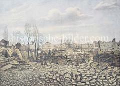 Brandruinen bei der Kleinen Alster nach dem Hamburger Brand von 1842; lks. der abgebrannte Turm der Petrikirche.