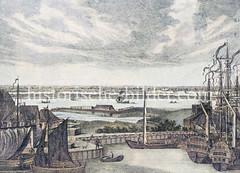 Blick vom Baumwall / Baumhaus auf den Hamburger Binnenhafen; lks. vorn das Kehrwieder in der Bildmitte die Bastion Höltenwam / Sandtor. (ca. 1770)