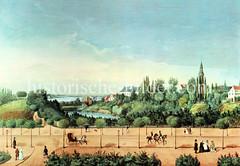 Blick über den Hamburger Stadtgraben  zur Alster, re. der Kirchturm von der Dreieinigkeits Kirche in  St. Georg (ca. 1850).