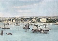 Colorierte, historische Ansicht von Hamburg Steinwerder, Blick über die Elbe.  Auf dem Fluß fahren Segelschiffe und Raddampfer.
