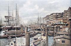 Kolorierte historische Ansicht vom Jonashafen / Niederhafen in der Neustadt Hamburgs; re. Gebäude an den Vorsetzten / Stubbenhuk / Johannisbollwerk.