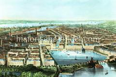 Historische Luftansicht von der Hamburger Neustadt, Altstadt und Binnenalster um 1850 - im Hintergrund die Elbe.
