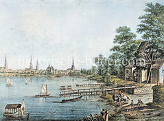 """Wirtshaus """"Alte Rabe"""" am Alsterufer - im Hintergrund das Panorama mit den Kirchtürmen Hamburgs. (ca. 1790)"""