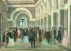 Alte Innenansicht von Sillems Bazar am  Hamburger Jungfernstieg - erste Einkaufspassage Deutschlands, errichtet 1843 / Architekt  Eduard Averdieck (ca. 1845).