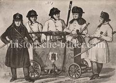 Historische Ansicht von Spritzenleuten der Hamburger Feuerwehr. (ca. 1900)
