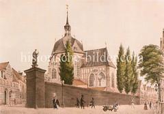 Historische Ansicht der Gertruden Kapelle in der Hamburger Altstadt; sie wurde um 1400 erbaut und 1842 durch den Hamburger Brand zerstört und nicht wieder aufgebaut.