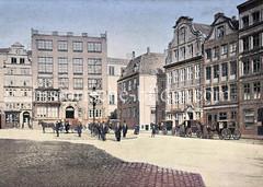 Historisches Bild vom Alten Fischmarkt in der Hamburger Altstadt, Blick zum Schopenstehl.