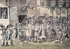 Historische Darstellung einer Straßen-Theater Aufführung in Altona.