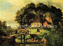 Alte Ansicht der Rahlstedter Kirche - Holzbrücke über die Wandse; Menschen beim Kirchgang. (ca. 1860)