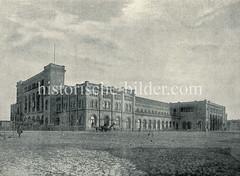 Altes Bild vom Venloer Bahnhof - nach 1892 Hannoverscher Bahnhof (auch Pariser Bahnhof).  Bis zur Ablösung durch den Hamburger Hauptbahnhof im Jahr 1906 war er der Bahnhof für alle Personenzüge, die bei Hamburg die Elbe überquerten. Bis 1999