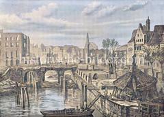 Historische Ansicht Hamburgs nach dem Brand von 1842 - Blick von der Zollenbrücke zur Trostbrücke in der Altstadt.