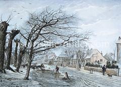 Colorierte Ansicht vom Landwehr in Hamburg Hamm; die ursprüngliche Landwehr war ein Erdwall der die äußerste Verteidigunglinie der Franzosen darstellte.