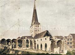 Abbrucharbeiten am Hamburger Dom / Marienkirche in der Hamburger Altstadt / Domplatz um 1800.