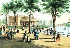 Historische Ansicht vom Neuen Jungfernstieg in der Hamburger Neustadt, re. im Hintergrund die Lombardsbrücke (ca. 1845).