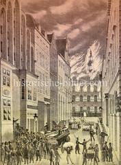Darstellung vom Hamburger Brand 1842; das Rathaus hat Feuer gefangen; mit Sprengungen wurde versucht, das Feuer aufzuhalten.