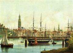 Blick von Steinwerder auf die Schiffe auf der Elbe,  im Jonashafen in der Hansestadt Hamburg - historisches Panorama, ca. 1860.