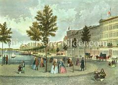 Historisches Motiv vom Alsterdamm / jetzt Ballindamm in der Hamburger Altstadt; re. das Hotel Europa. (ca. 1830)