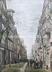 Historische Ansicht der Straße Bei den Mühren in der Hamburger Altstadt; die Wohnhäuser lks. liegen zum Binnenhafen und wurden zur Errichtung des Zollkanals abgerissen.