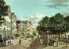 Altes Bild vom Hamburger Jungfernstieg, ca. 1820.