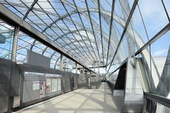 Bilder aus dem Hamburger Stadtteil Hafencity; Architektur der S-Bahnhaltestelle Elbbrücken.