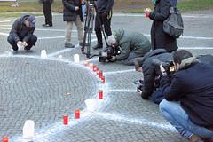 Gedenken zum 80. Jahrestag der Progromnacht am Joseph-Carlebach-Platz in Hamburg Rotherbaum  Grindelhof