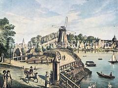 Historische Ansicht der Lombardsbrück über die Alster - im Hintergrund Häuser am ehem. Holzdamm und lks. St. Georg. (ca. 1820)